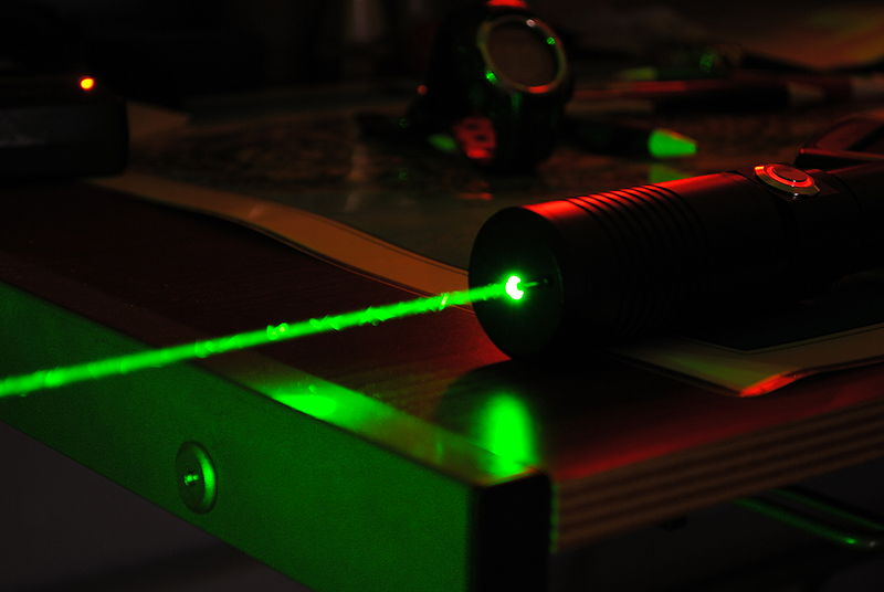 An example of a laser beam - laser drilled clarity enhanced diamonds